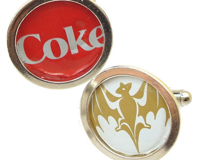 BACARDI and COKE Bottle Cap/ Sterling Silver cuff links