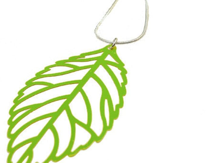 Enameled Filigree Leaf Pendant in Green Apple