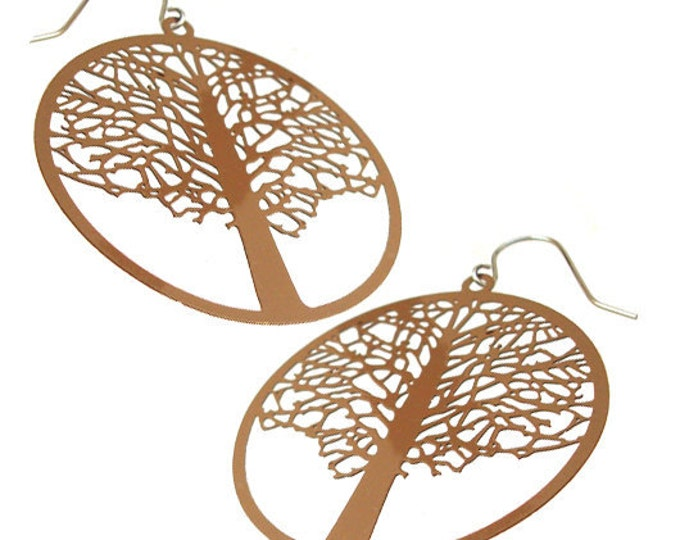 Enameled Filigree Tree Earrings in Brown