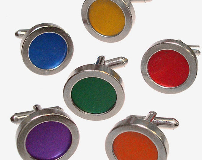 6 in 1 stainless steel cufflinks with 6 colors of recycled aluminum