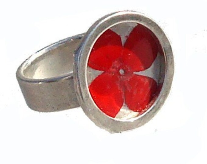 Silver Ring with Red Verbena Flower