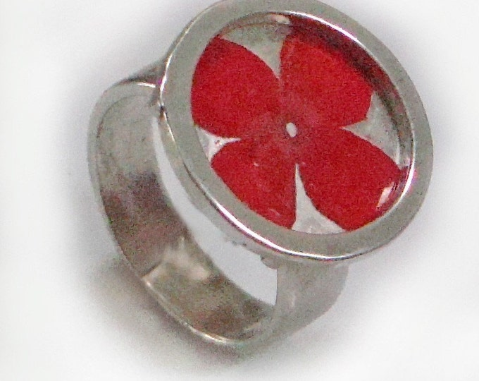 Red Verbena/sterling silver ring