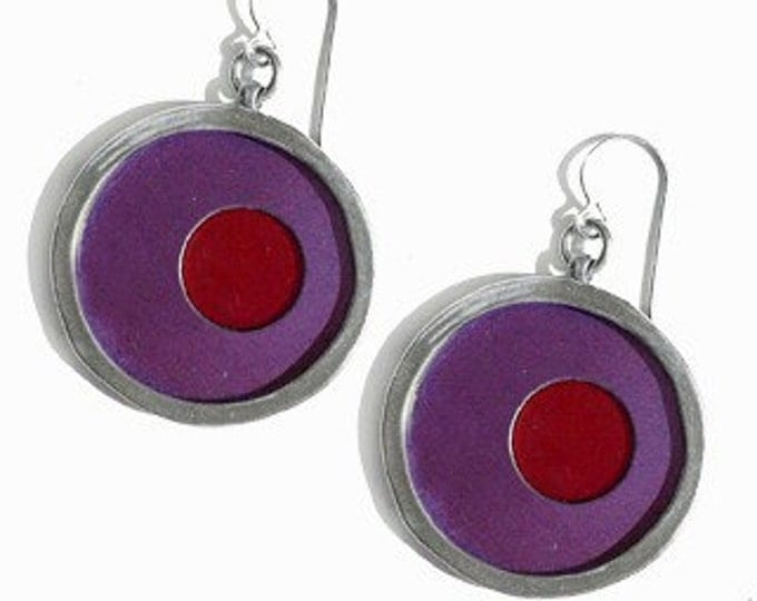 recycled aluminum/silver earrings in purple and red