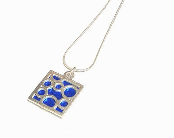 Small Square Blue Bubble pendant
