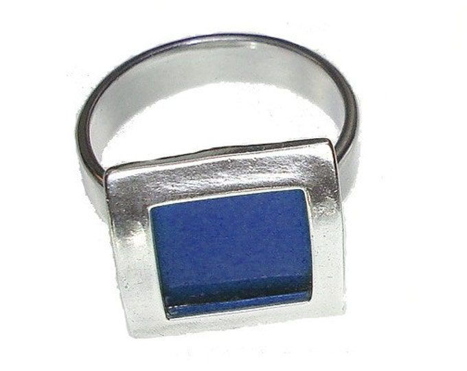 small square recycled aluminum/silver ring in Blue