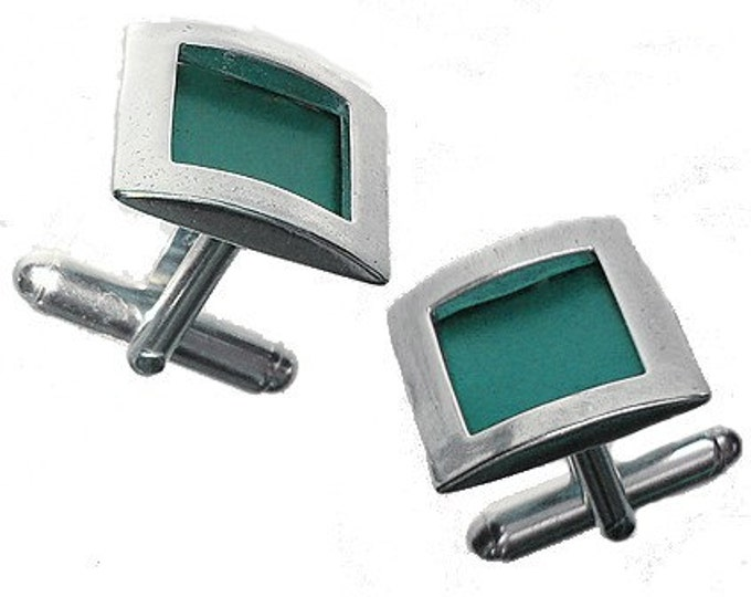 Father's day Recycled aluminum/sterling silver square cufflinks in Aqua