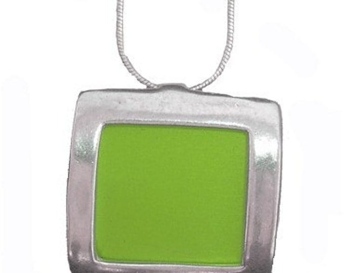 recycled aluminum/silver Lime square pendant