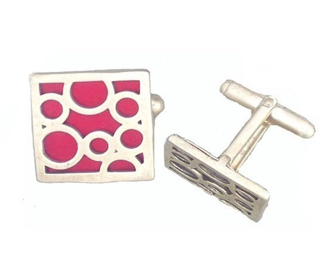 Square sterling silver red bubble cufflinks