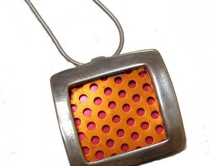 recycled aluminum/silver square pendant in Orange with Red