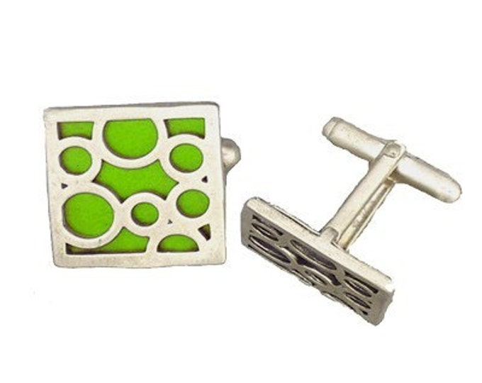 Square sterling silver lime bubble cufflinks