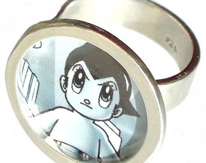 ASTRO BOY vintage button/pin ring of sterling silver