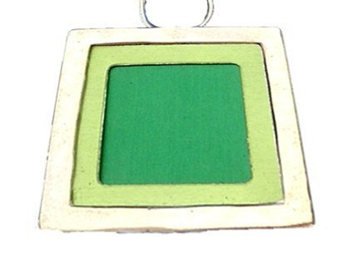 Large Square Two Tone Pendant in lime and green