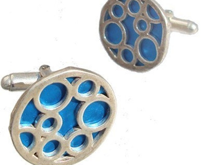 Round sterling silver Aqua bubble cufflinks