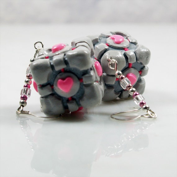 Mini Weighted Companion Cube Earrings with Sterling Hooks