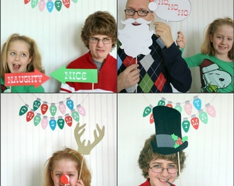 Christmas Photo Booth Props DIY Printable download pdf  & print (25 piece set)