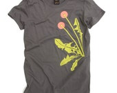 SALE! Dandelion Womens Tee - mid grey, organic cotton, tshirt