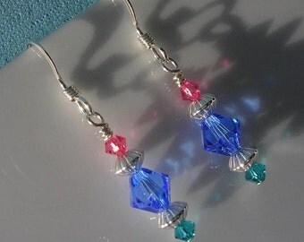 Swarovski tri color delicate spring earrings