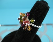 Autumn Crystal Cluster Cocktail Ring