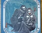 Romantic album art Elizabethan England woodblock print art
