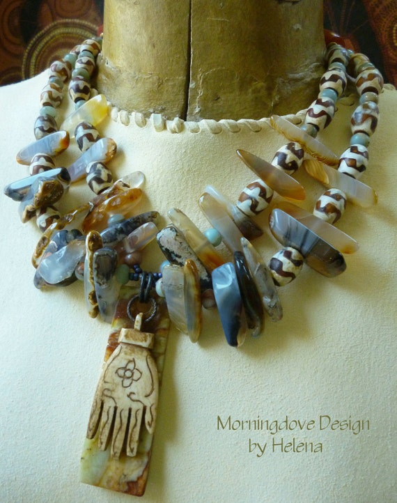 Transglobal Fusion, tribal Hamsa double strand necklace