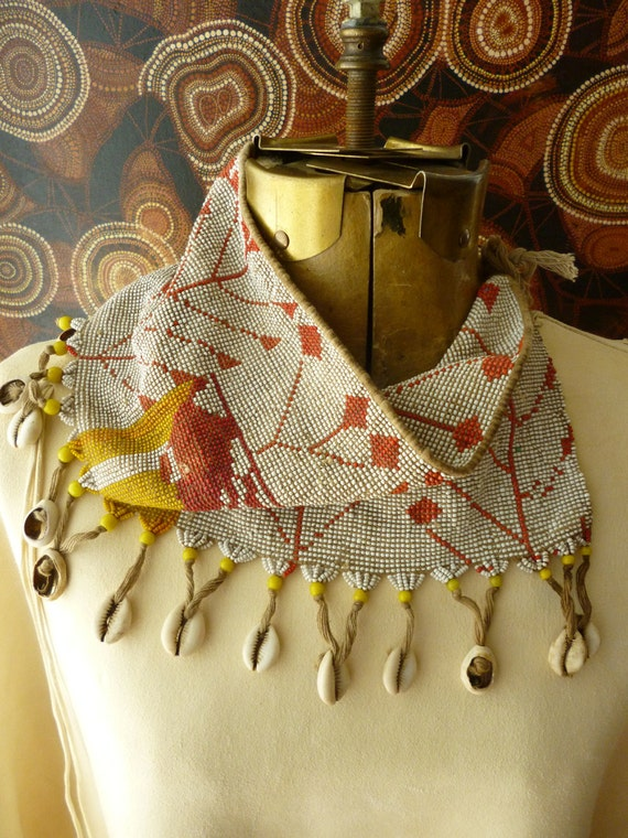 Vintage African woven bead belt apron scarf