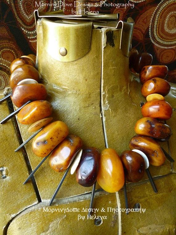 Over the Top Tribal Abundance  golden honey resin, Naga shell