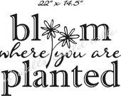 Bloom Flower vinyl lettering, wall words, decal