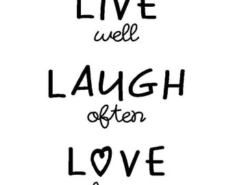 LIVE WELL vinyl wall decal, custom quote