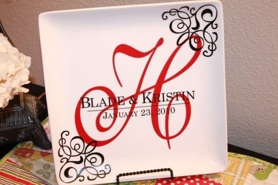 Vinyl Monogram Wedding Display Plate By Melanieastewart On