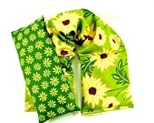 Gift Idea Neck Heat Wrap i Pillow Set Organic Flaxseed Rice Lavender Daisies Yellow Green Holidays Yoga Weddings