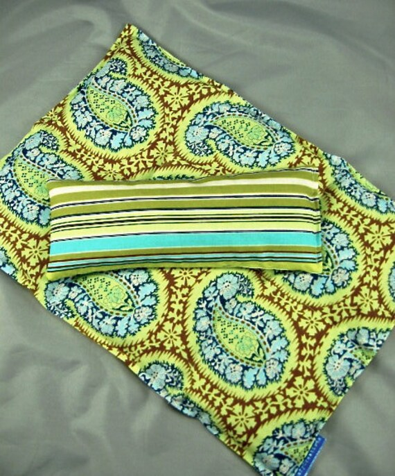 Deluxe Back Relief  Pack Eye Pillow Set Hot/Cold Therapy  Organic Flaxseed Lavender Rice Amy Butler Henna Paisley Turquoise