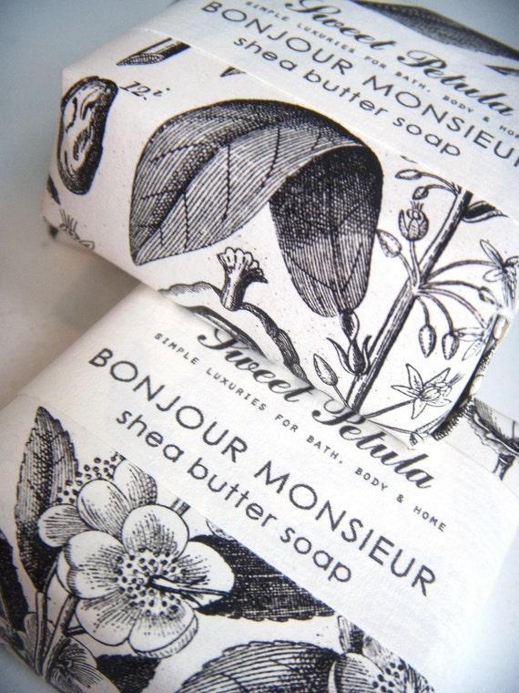 Bonjour Monsieur Shea Butter Soap - Black Tea, Tobacco, Cedar, Lemon, Bay and Clove- by Sweet Petula