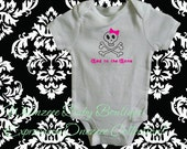Baby Onesie-Bad To The Bone (Girl) White Onezeee Bodysuit- (You pick the size)-Baby Gift-Baby Shower