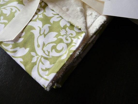 Baby Stroller Blanket-Avocado Dandy Damask -Cream Minky Blanket -Baby Blanket-Baby Gift-SALE-FREE SHIPPING