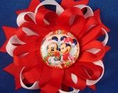 Christmas Minnie and Mickey Hair Bow On Sale