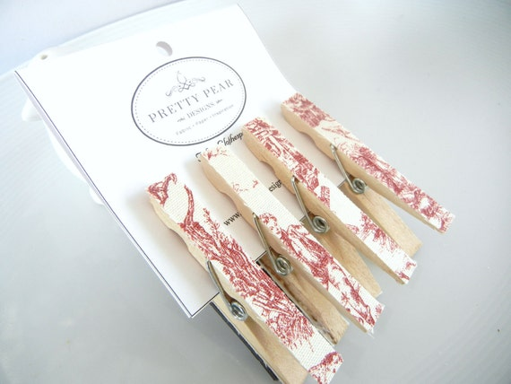 Red Toile Fabric Magnet Clothespins Set of 4