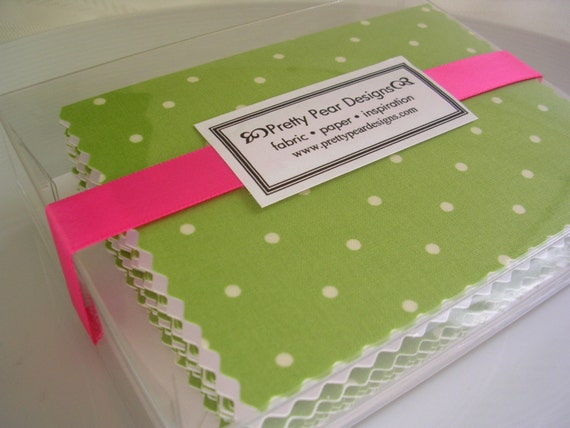 Handmade Fabric Polka Dots Green and White Notecards set of 8 Blank