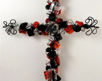 cross---black n red----beaded cross