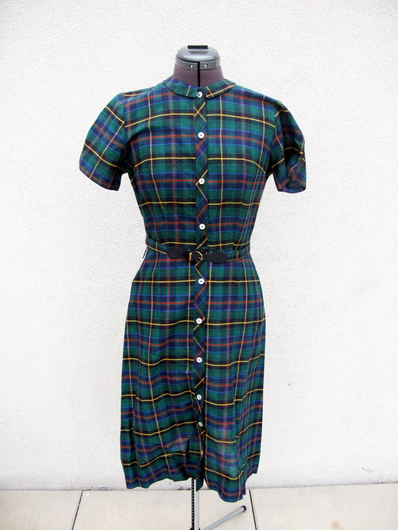 SALE: Green Plaid Shirt dress with pointed flat collar w/matching belt S