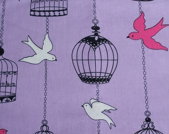 Clearance Bird and Cage Cotton Flannel Fabric (last one)