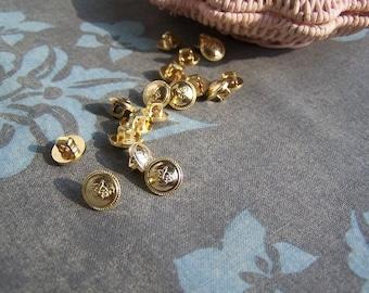 20pcs+ Kawaii 9mm Golden Shank Buttons