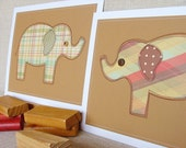 SECOND Plaid pair of elephants, perfect for a little boy's room