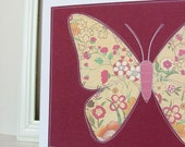 SALE Last one: Butterfly wall art, sewn paper original ready to frame
