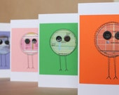 Last one: Junior science cards, four cute aliens made from an old kids encyclopaedia