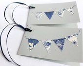 Pair of cute bunting cards in blue, perfect gift topper