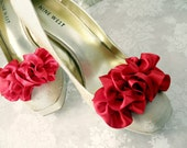 Red Satin Bridal Shoe Clips - Wedding Shoe Clips - Handmade Shoe Accessories - Bridesmaid Gift - Lots Of Colors To Choose From