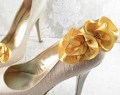 Yellow Shoe Clips - Wedding Shoe Clips - Satin Shoe Clips - Shoes Clips For Wedding Shoes - Wedding Shoes - Shoe Clips - Ruffles - Romantic