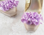 Shoe Clips Wedding - Bridal Shoe Clips - Marie Antoinette Shoes - Shoe Embellishments - Purple Satin Shoes - Wedding Shoes - Shoe Trends