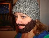 Fabulous crochet hat with attached beard / mustache bearded