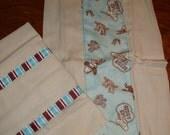 Set of Organic cotton Cowboy  Burp Cloths for boy